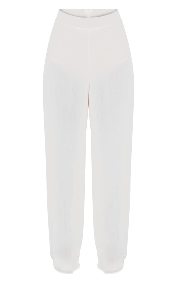 Cream Sheer Wide Leg Trouser 3