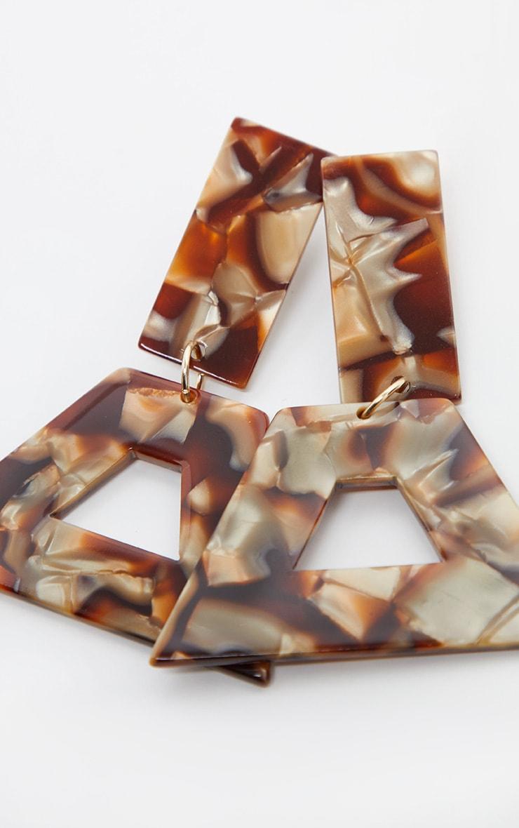 Brown Marble Effect Multi Shape Drop Earrings 3