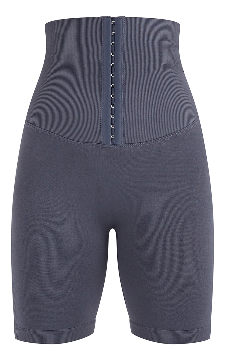Grey Seamless Waist Trainer Cycle Shorts 6
