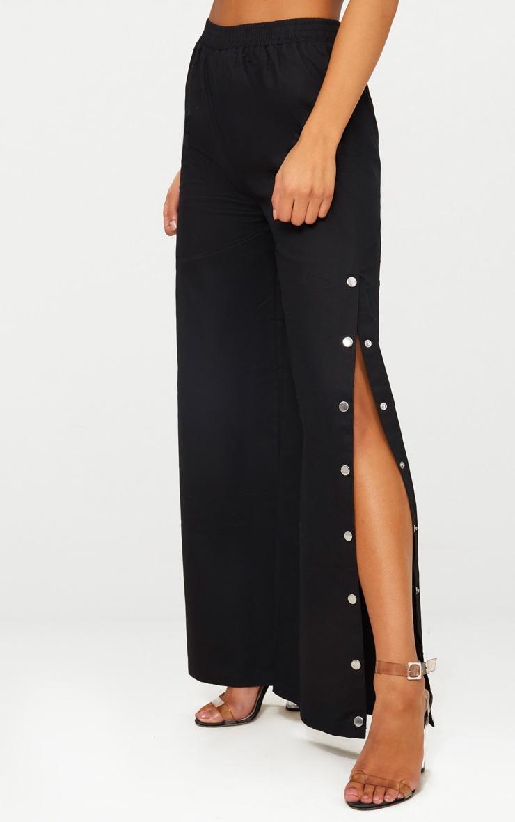 Black Wide Leg Popper Cargo Trousers 4