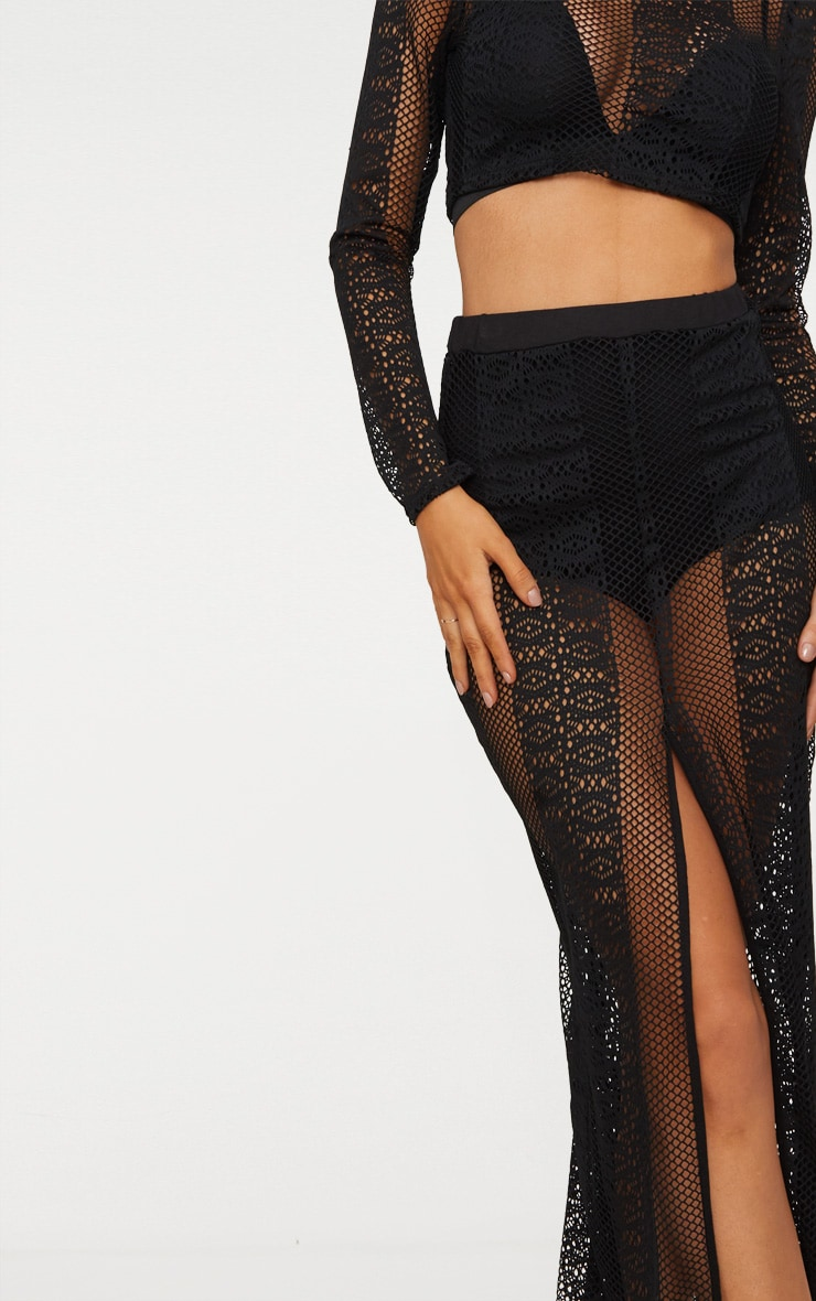 Black Lace Split Maxi Skirt 5