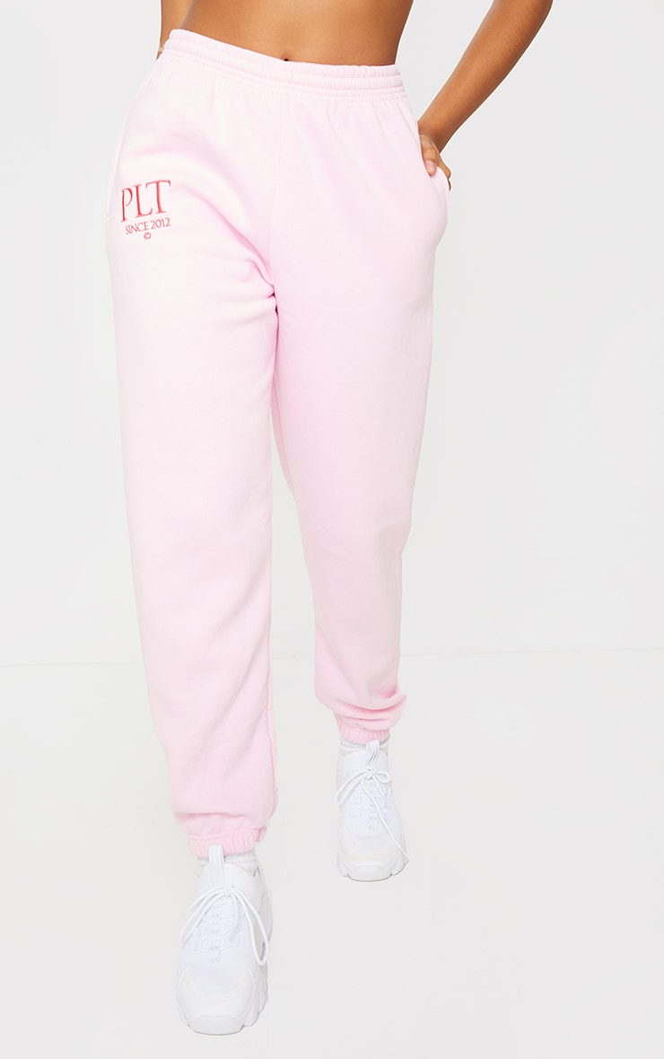 PRETTYLITTLETHING Baby Pink Established Slogan Casual Joggers 2