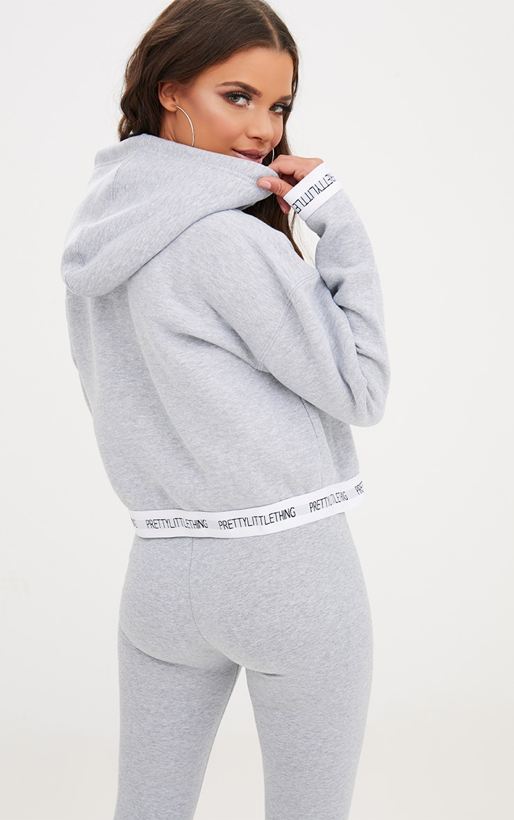 PRETTYLITTLETHING Grey Trim Cropped Hoodie 2