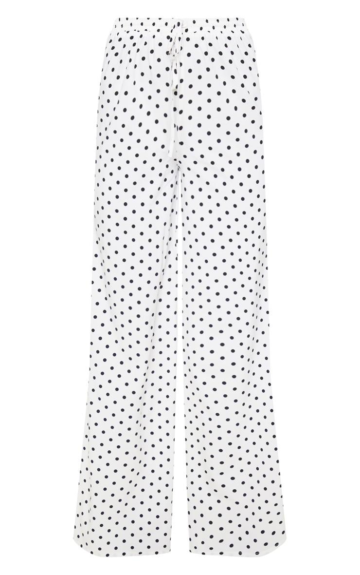 White Polka Dot High Waisted Wide Leg Pants 3