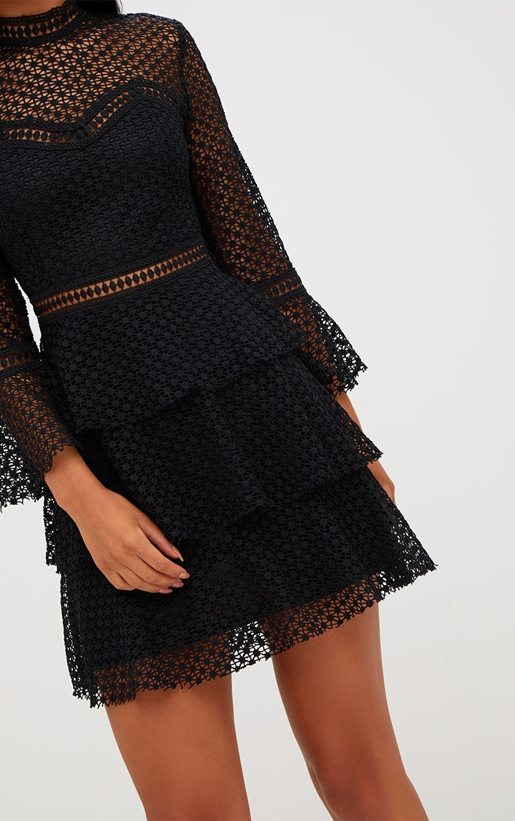 Black Flare Sleeve Lace Tiered Mini Dress 5