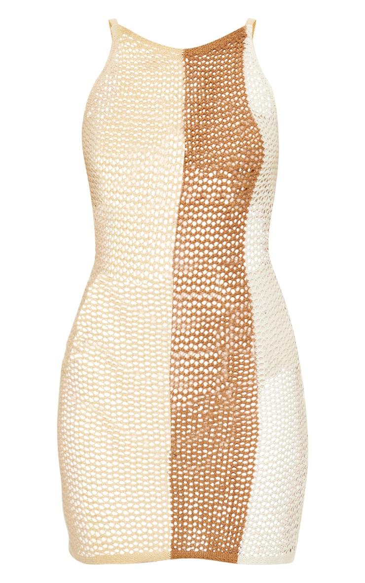 Cream Crochet Striped Detail Knitted Dress  3