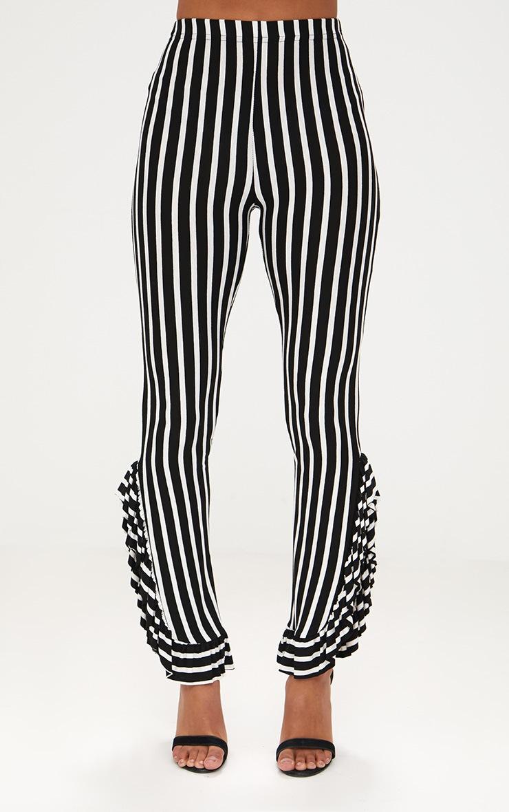 Petite Black Stripe Frill Leg Cropped Trousers 2