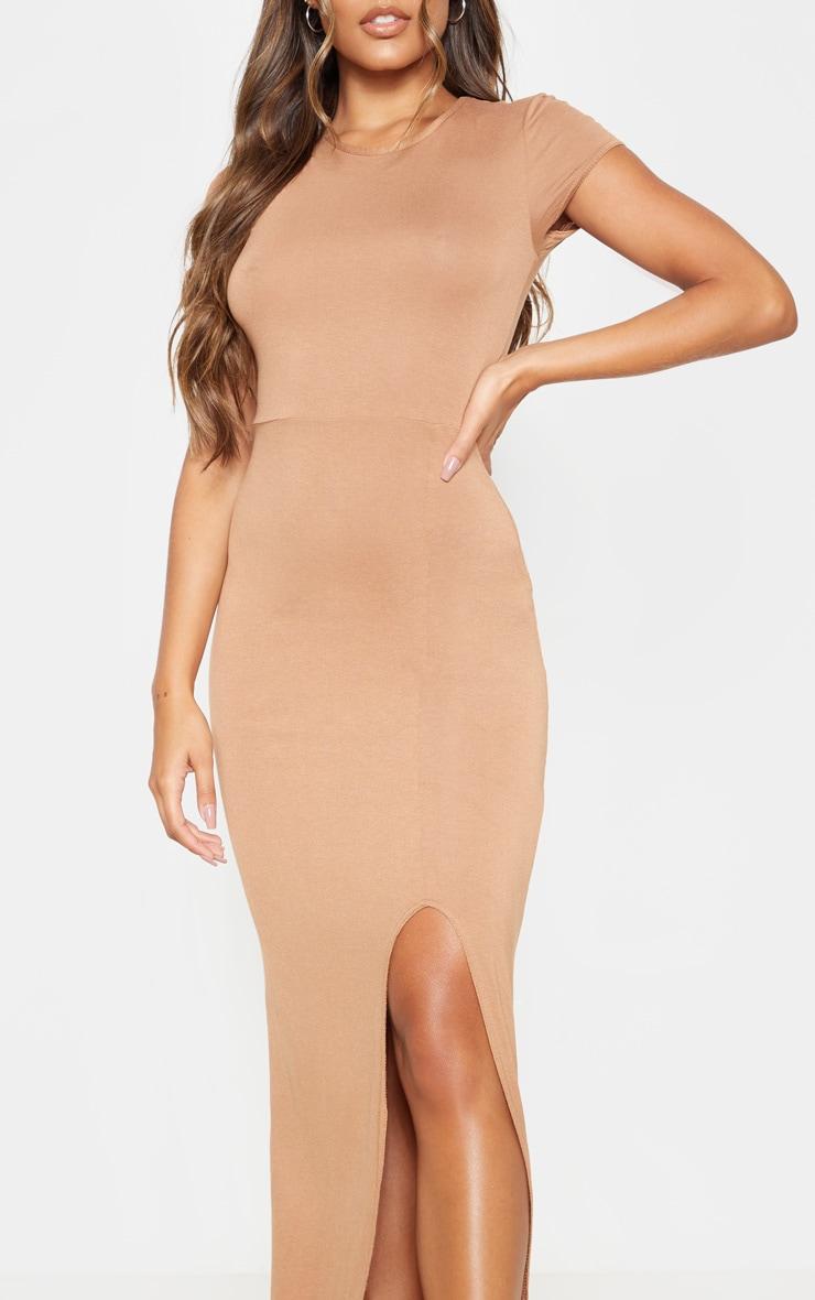 Camel Short Sleeve Split Maxi Dress 5