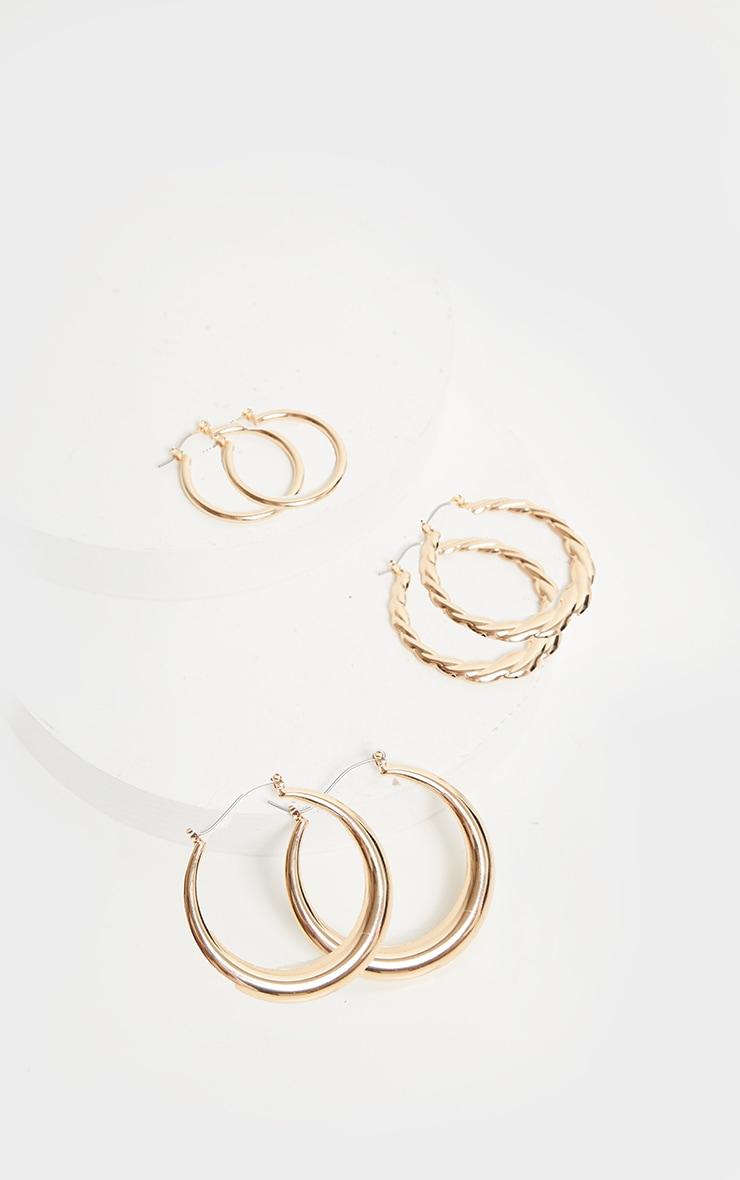 Gold Multi Pack Assorted Hoop Earrings 1