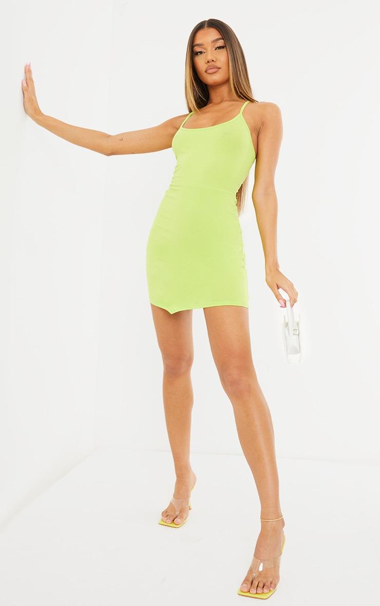 Light Lime Strappy Pointy Hem Lace Up Back Bodycon Dress 3