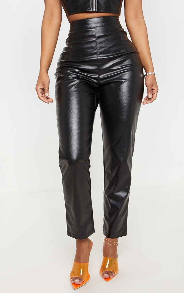 Shape Black Faux Leather Straight Leg Trouser  2