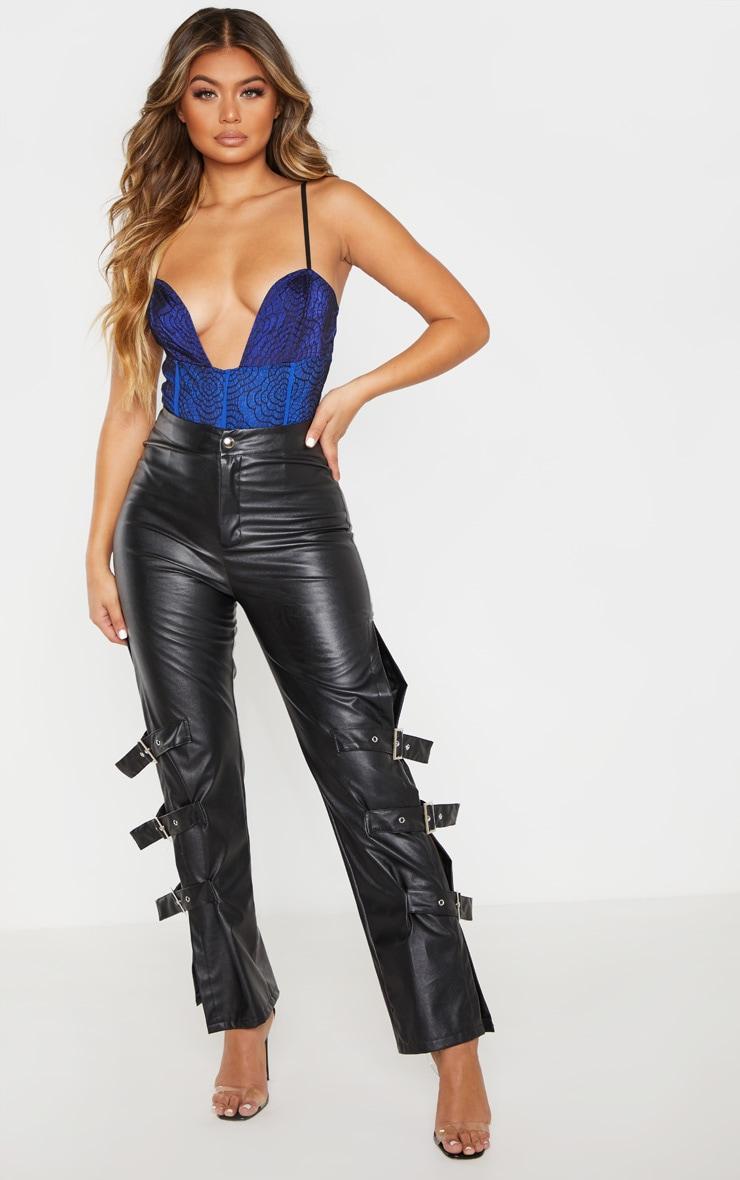Cobalt Contrast Lace Strappy Bodysuit 4