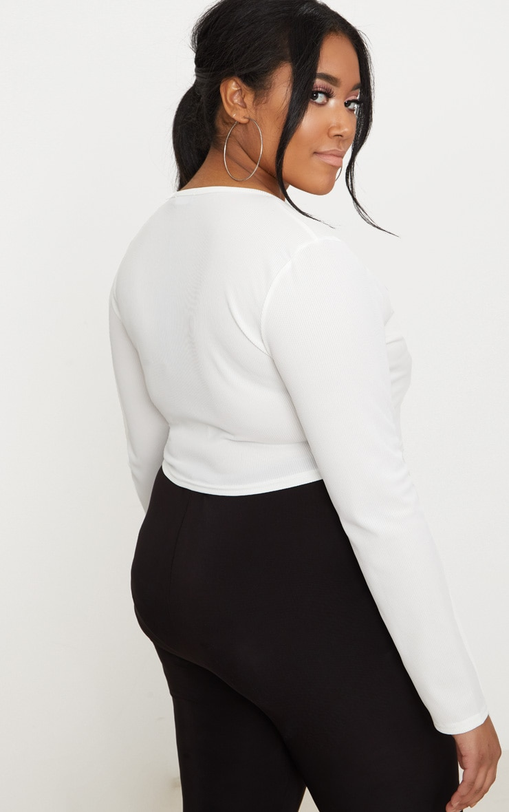Plus White Ribbed Popper Detail Crop Top 2
