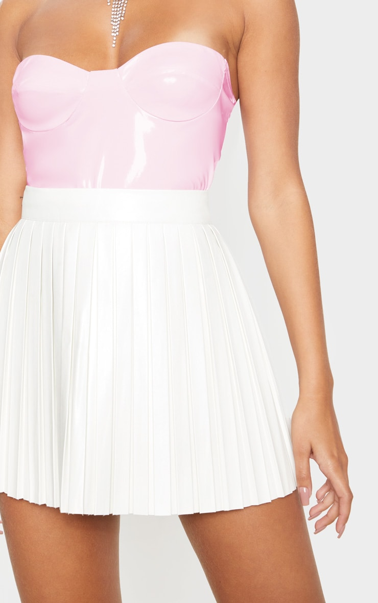 Cream Faux Leather Pleated Skater Skirt  5