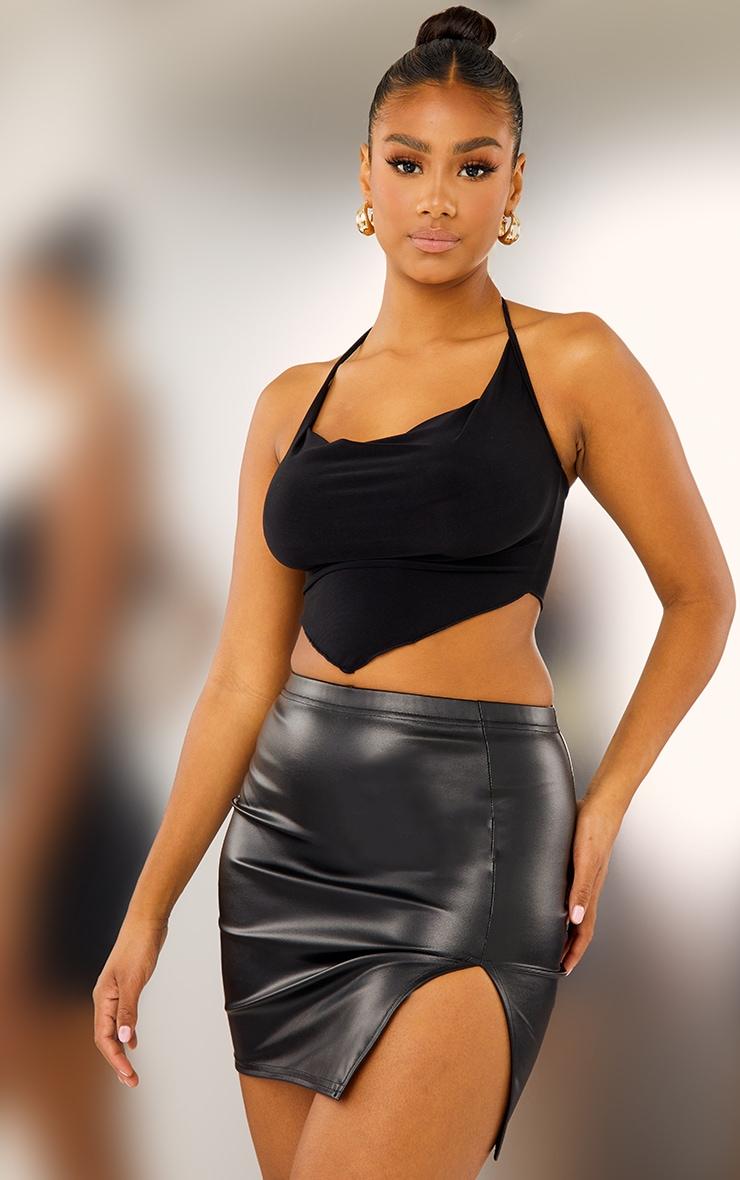 Black Faux Leather Split Front Mini Skirt 4