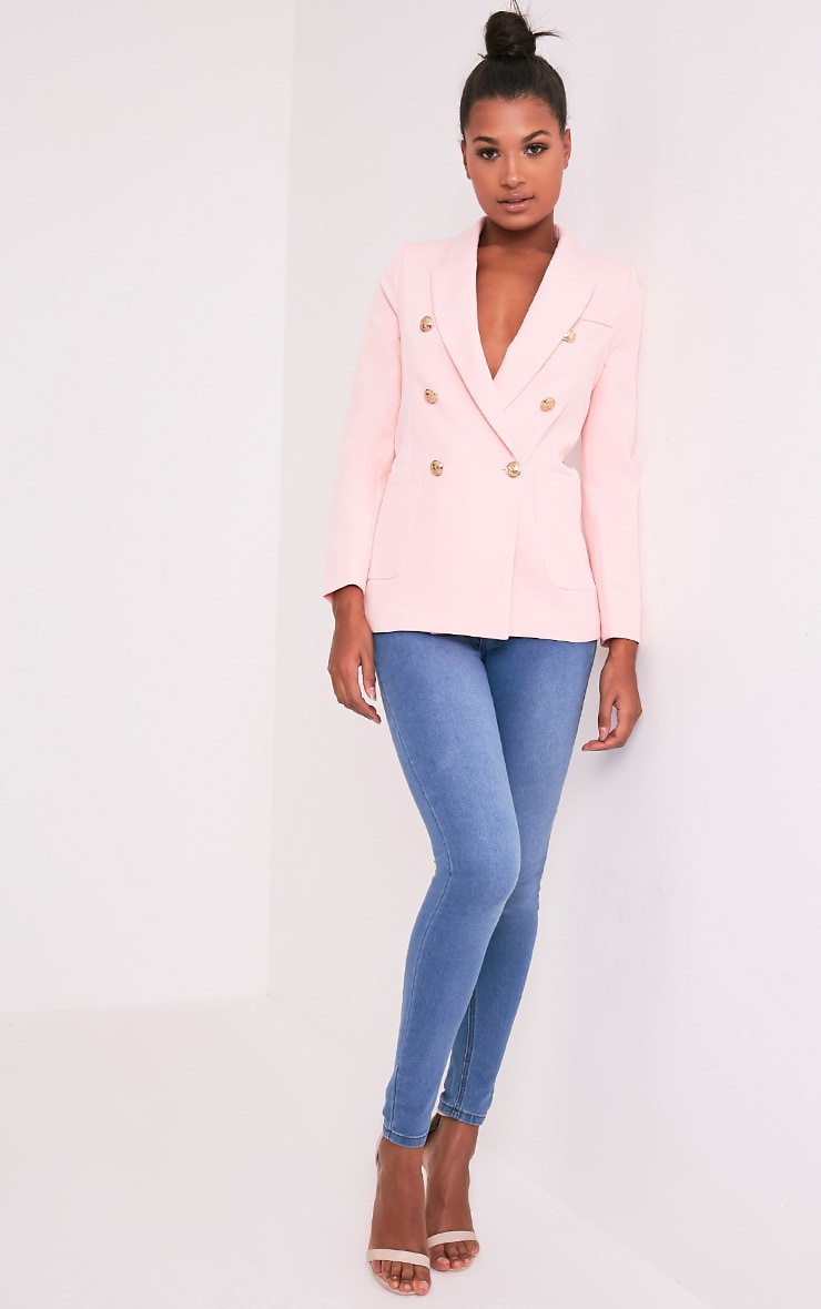 Pari Pink Double Breasted Military Style Blazer 4