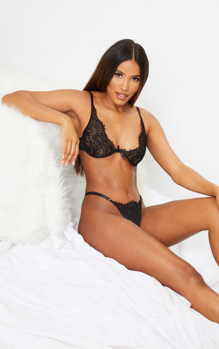 Black Underwired Lace Cup Lingerie Set 3