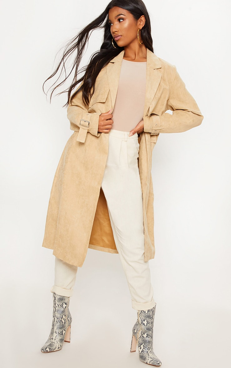 Stone Faux Suede Trench