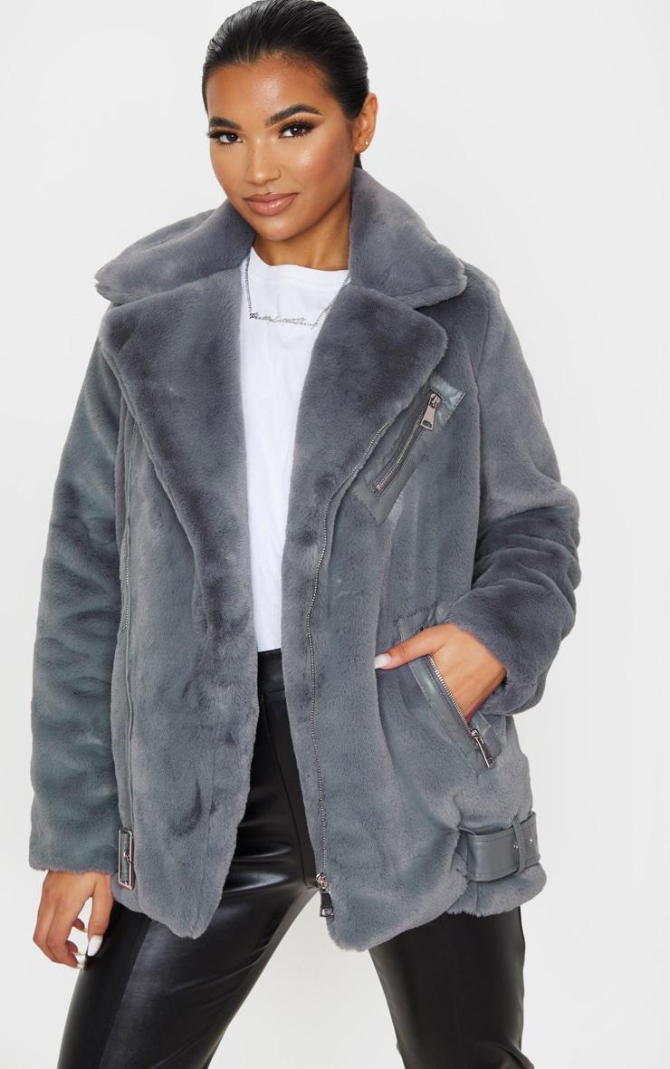 Grey Faux Fur Aviator Jacket 1