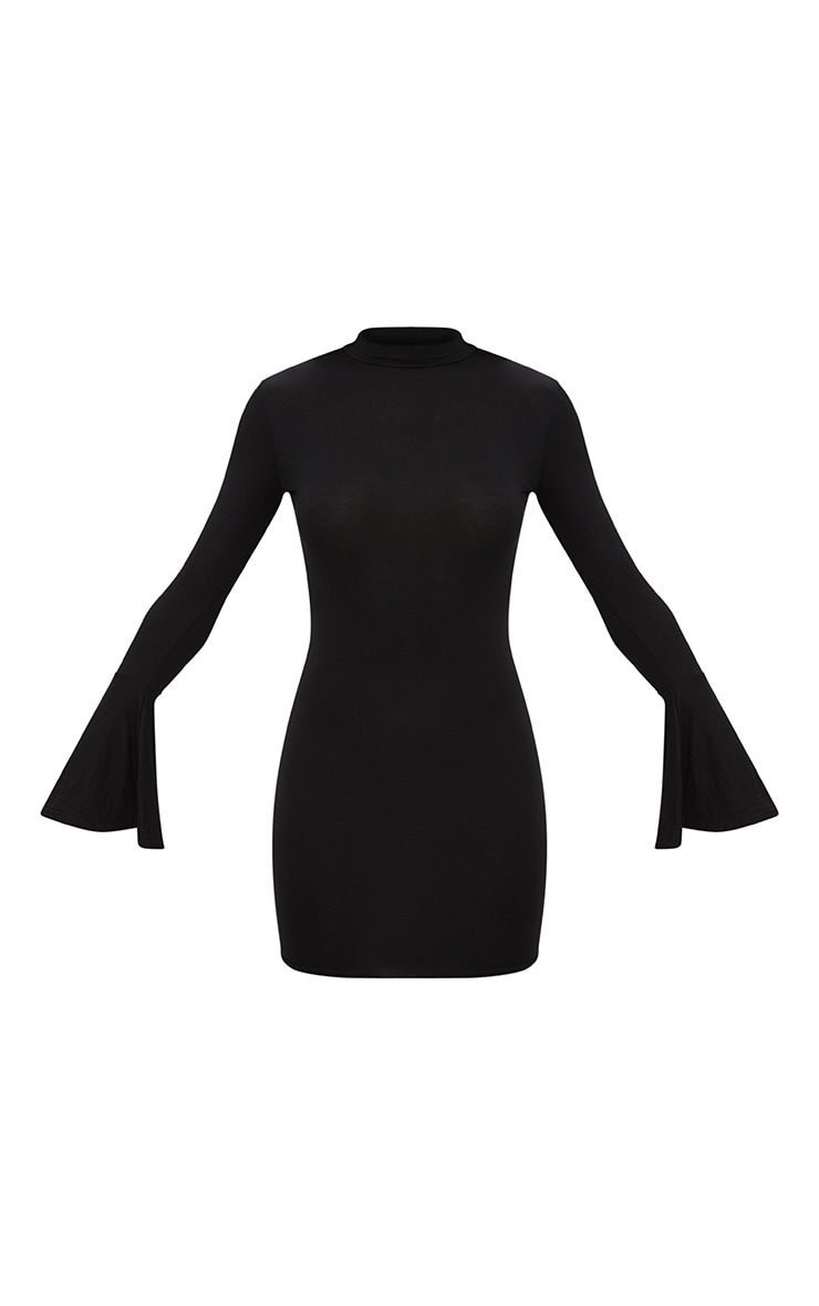 Black Frill Cuff High Neck Bodycon Dress 2