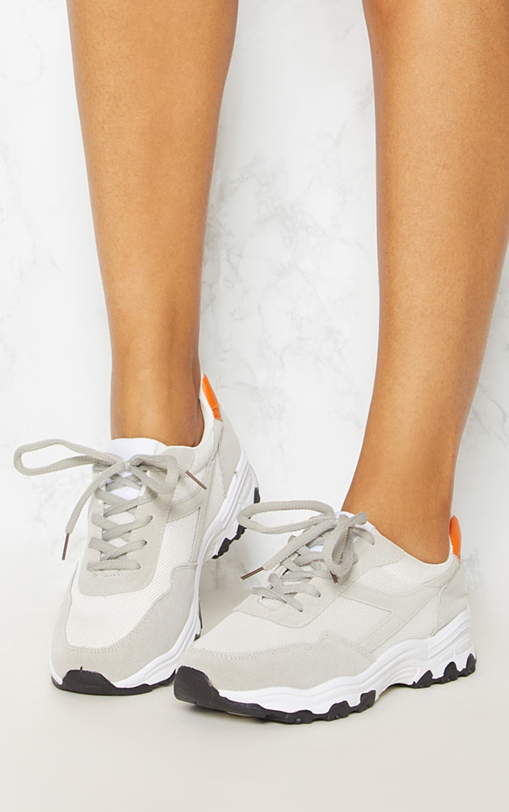 White Chunky Contrast Trainers 2