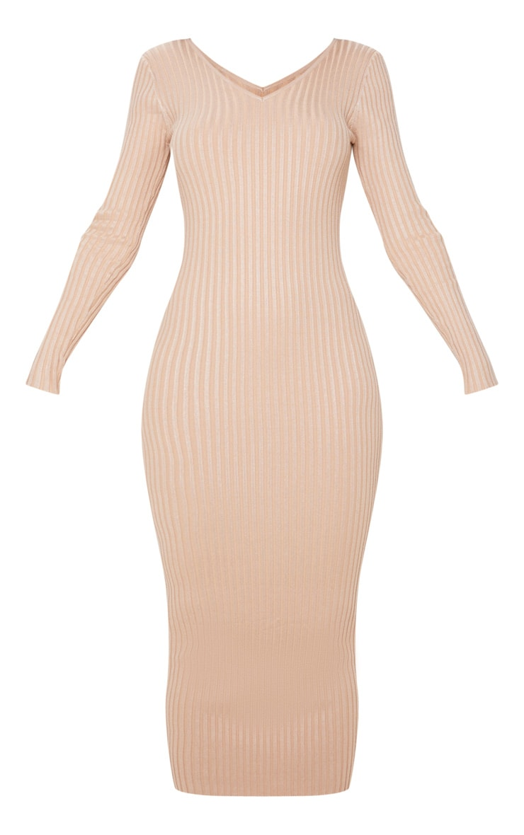 Stone Off Shoulder Rib Knitted Midaxi Dress 3