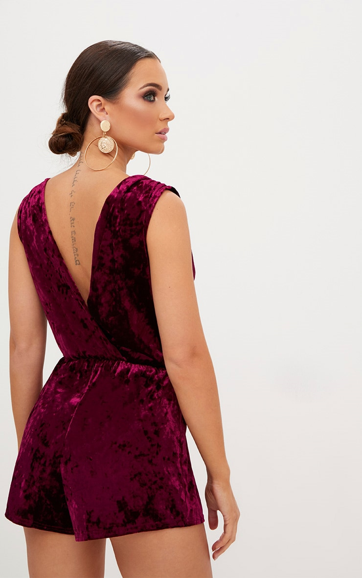 Burgundy Velvet Gathered Shoulder Wrap Playsuit 1