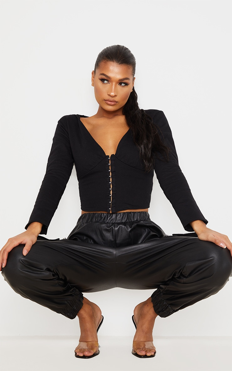 Black Hook And Eye Corset Detail Hoodie 3