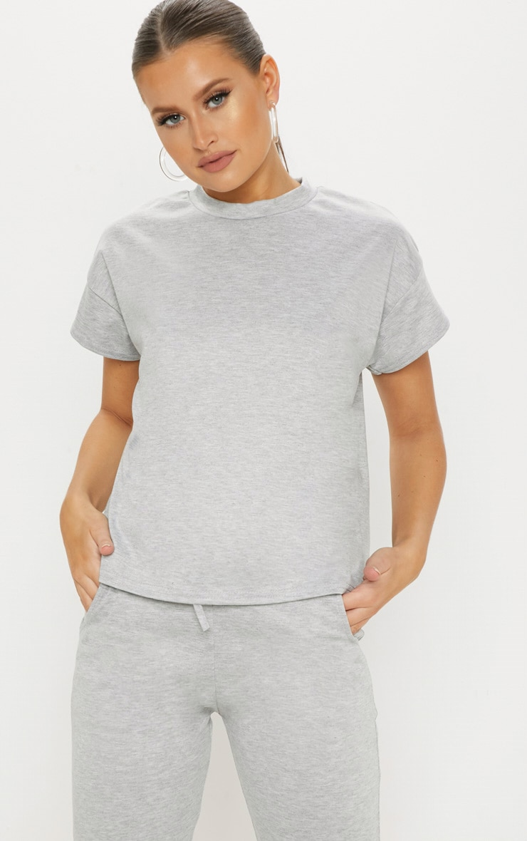 Grey Marl Textured Stripe Crop T Shirt