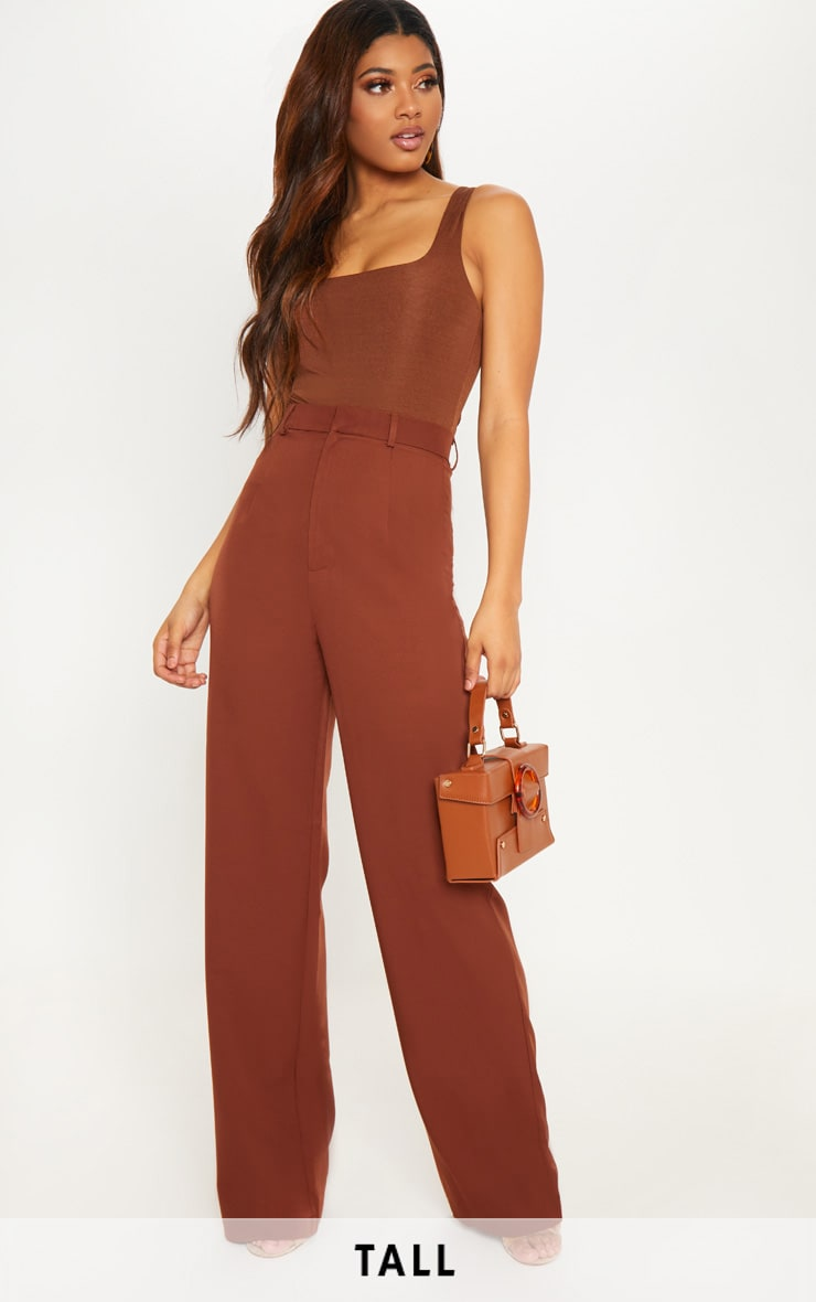 Tall Chocolate Brown High Waist Wide Leg Trousers by Prettylittlething