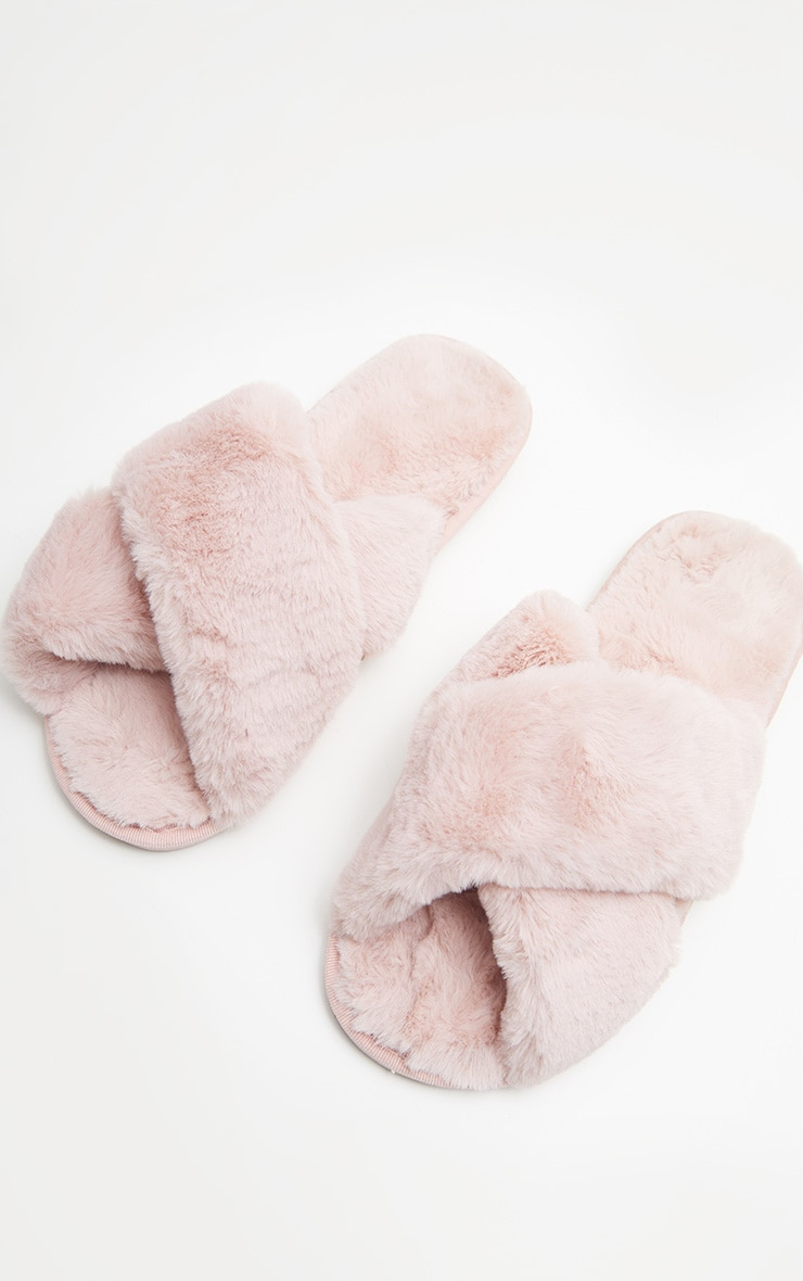 Pink Fluffy Cross Strap Slippers 3