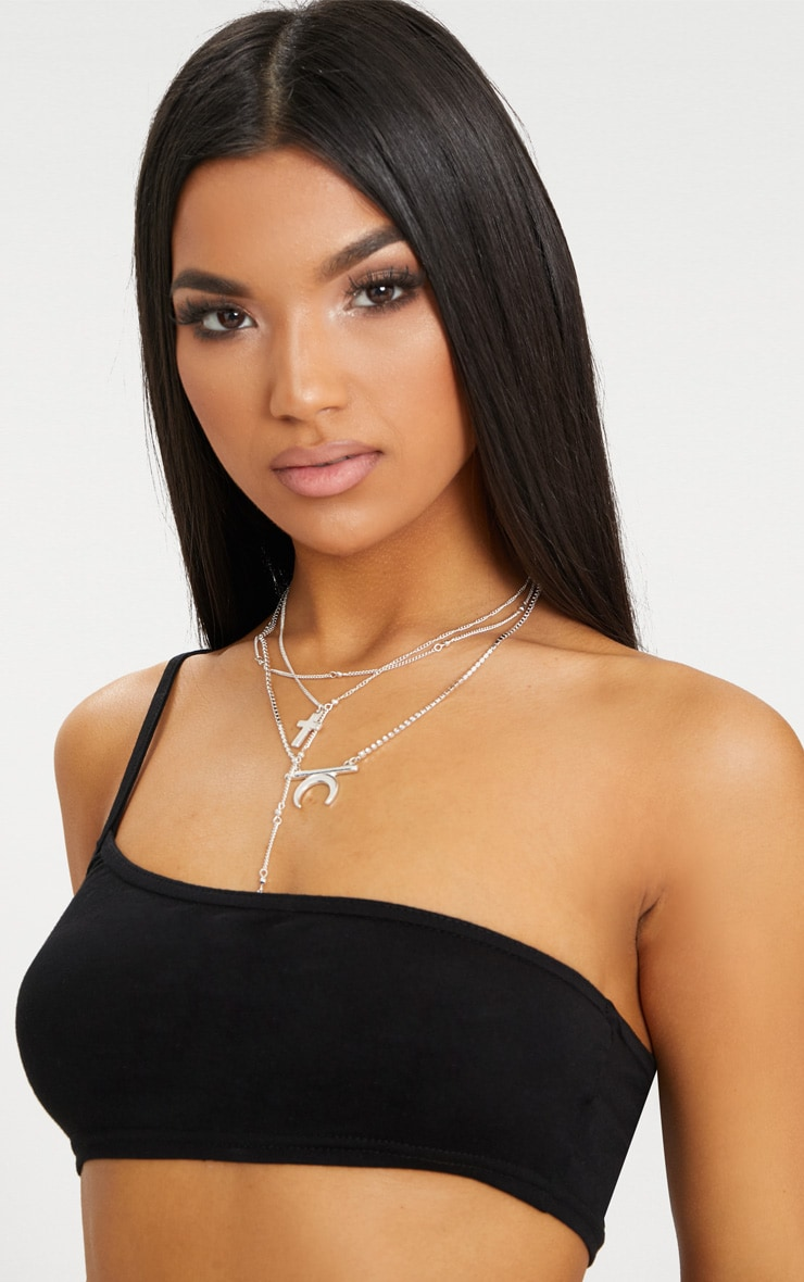 Black One Shoulder Strappy Crop Top  5