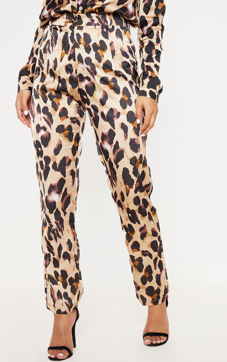 Leopard Print Satin Feel Printed Slim Leg Trouser 2