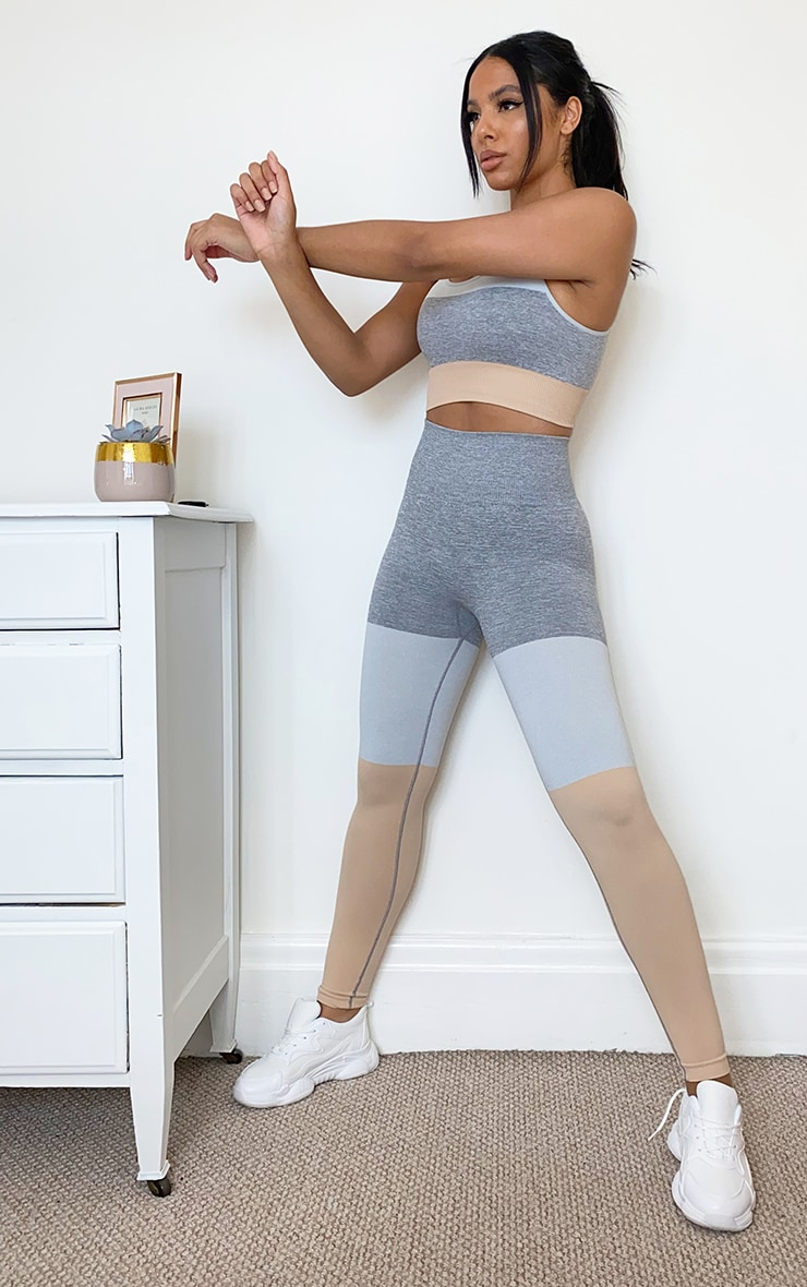 Grey Seamless 3 Tone Gym Leggings 1
