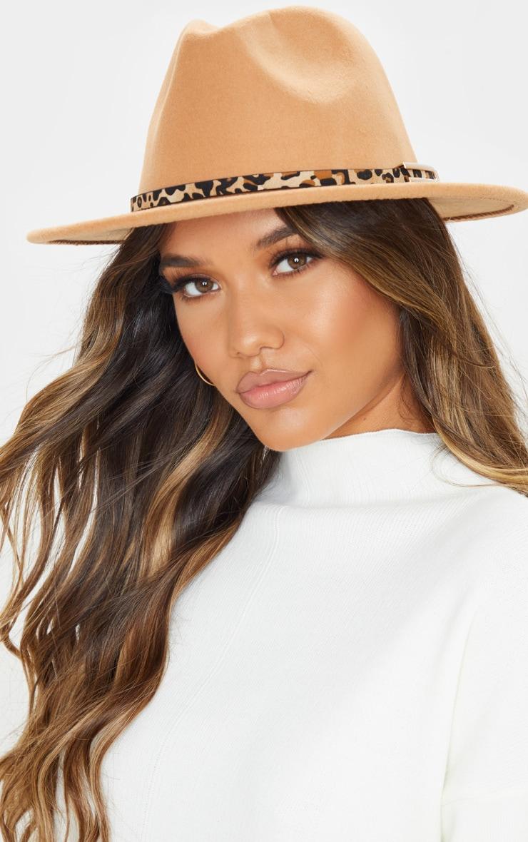 Camel Leopard Trim Fedora Hat 1