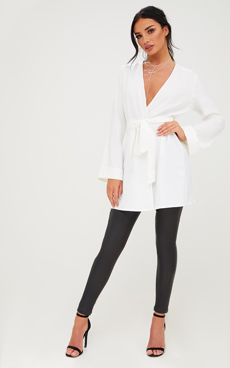 White Oversized Longline Blazer 4