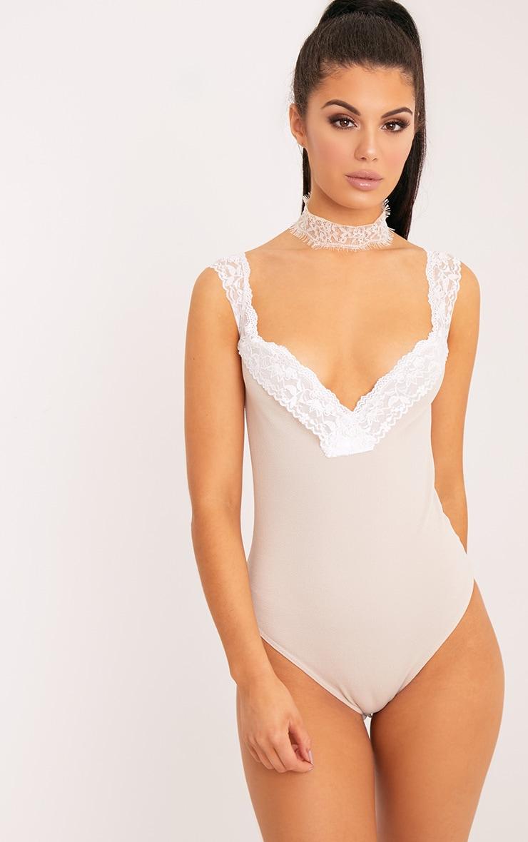 Gabby Stone Lace Trim Crepe Thong Bodysuit 1