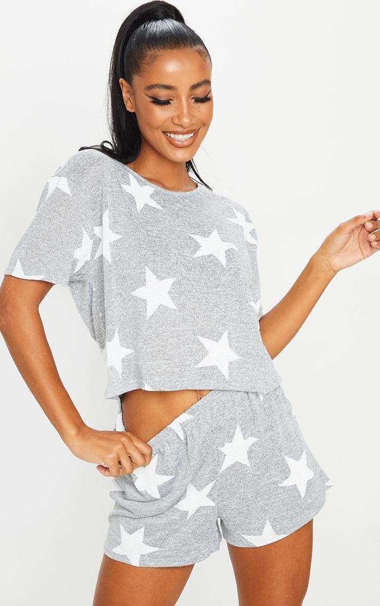 Grey and White Star Print Short PJ Set 1