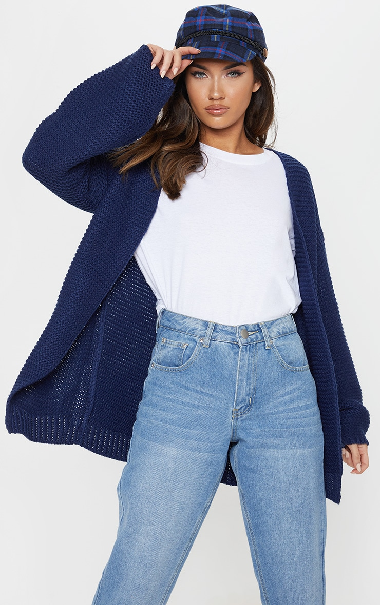 Navy Chunky Knitted Cardigan  1