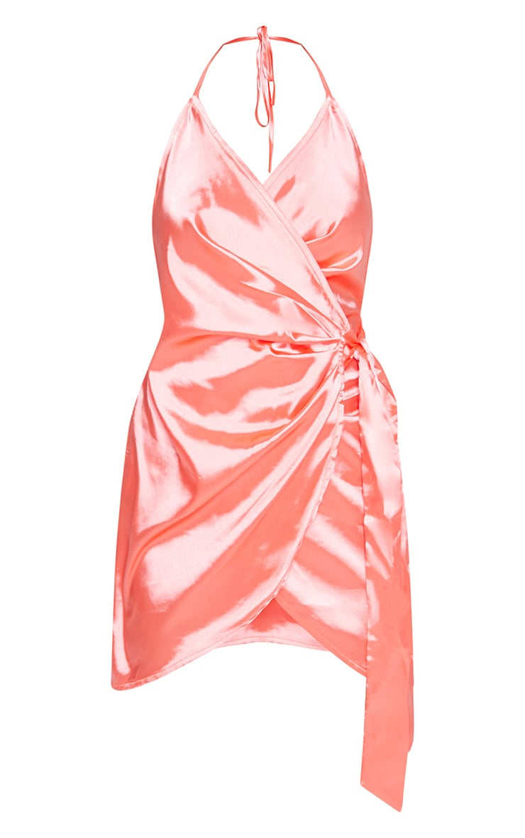 Coral Pink Satin Halterneck Wrap Bodycon Dress 3