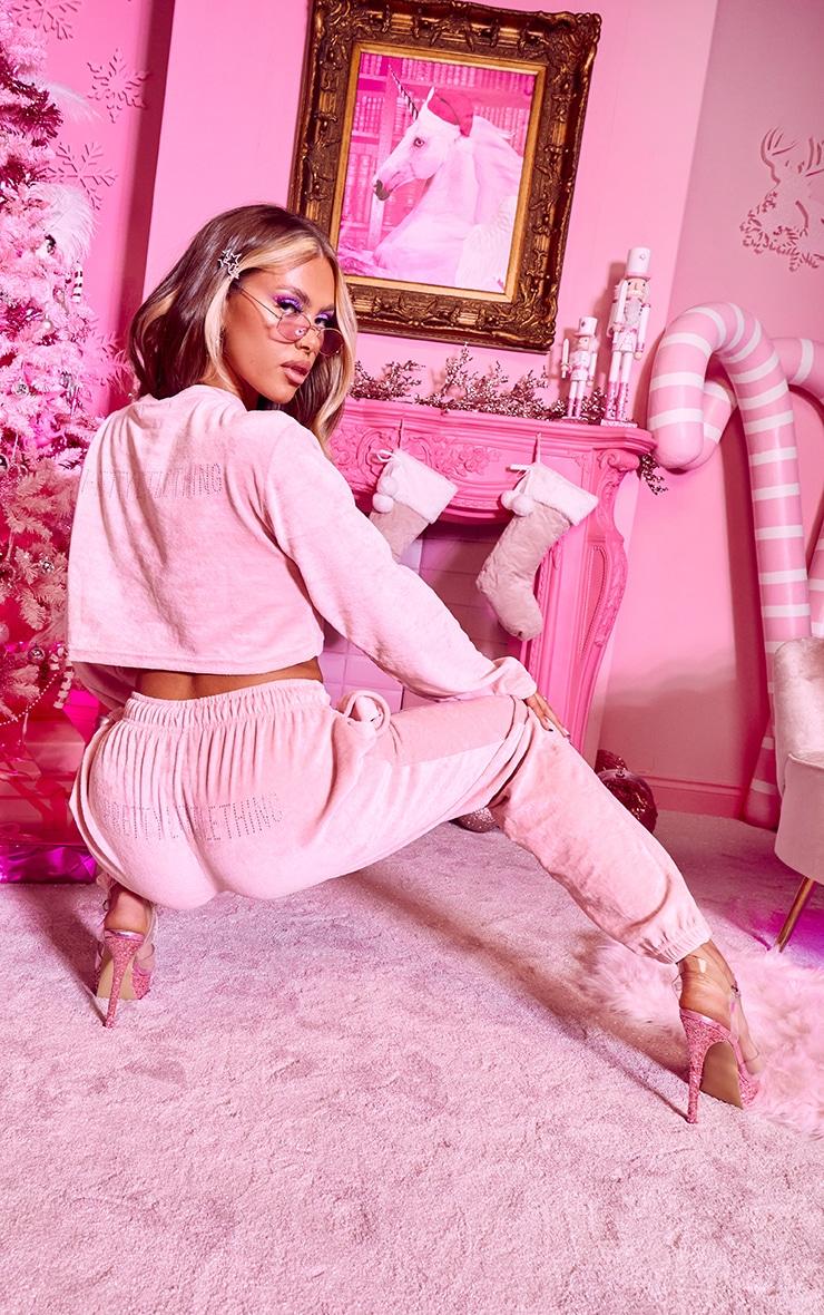 PRETTYLITTLETHING Shape Pink Diamante Velour Long Sleeve Sweater 2