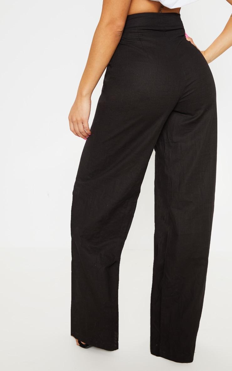 Petite Black Wide Leg High Waist Pants 4