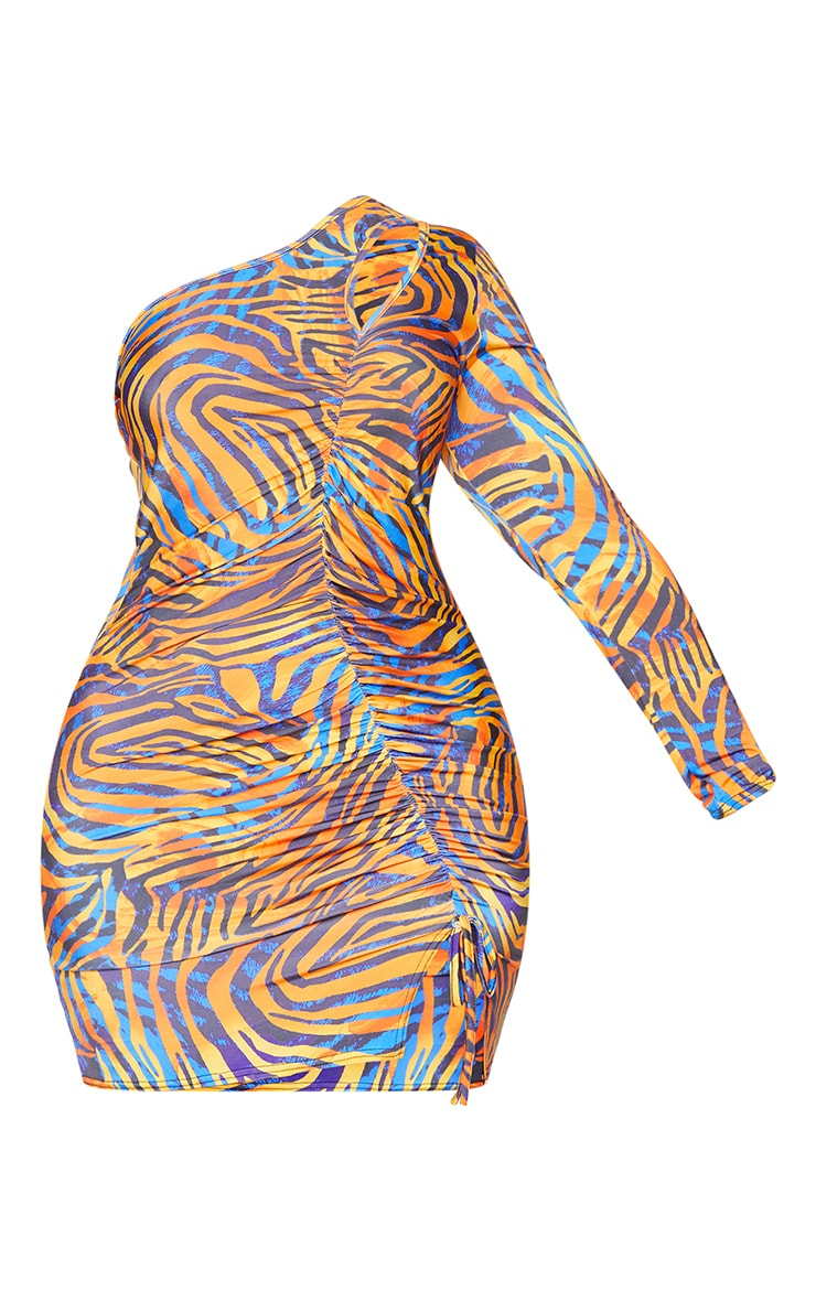 Plus Orange Zebra Print Slinky Ruched Down One Shoulder Bodycon Dress 5