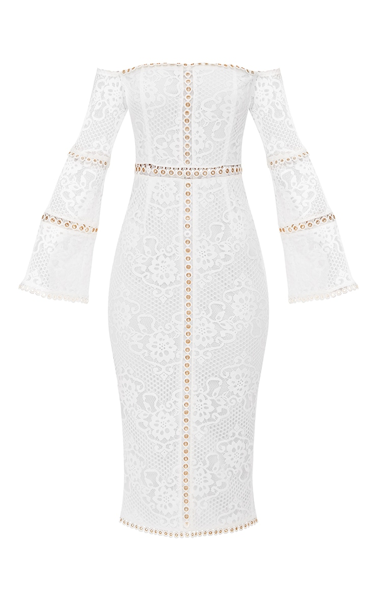 White Lace Eyelet Detail Bardot Midi Dress 4