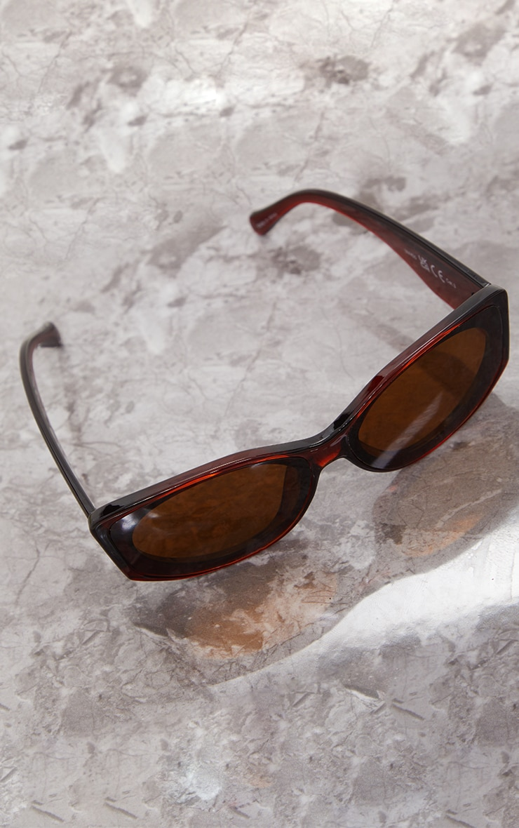 Brown Crystal Two Tone Squareframe Sunglasses 2
