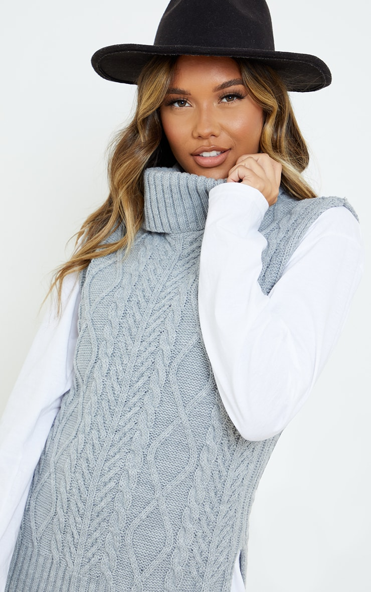 Light Grey Longline Sleeveless Cable Roll Neck Sweater  4