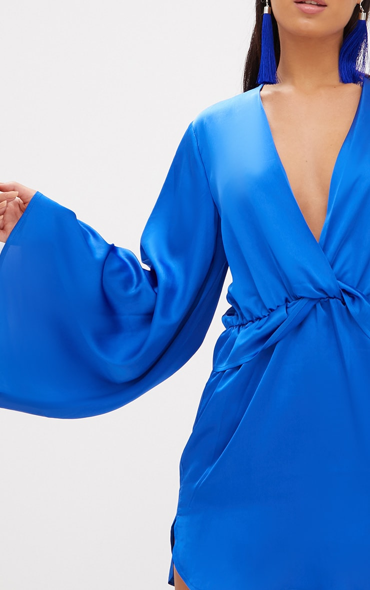 Cobalt Satin Kimono Sleeve Plunge Shift Dress 6