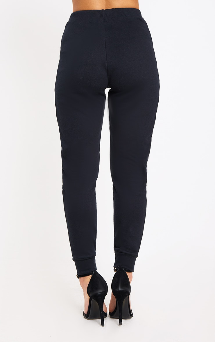 PRETTYLITTLETHING Petite Black Track Pants 3
