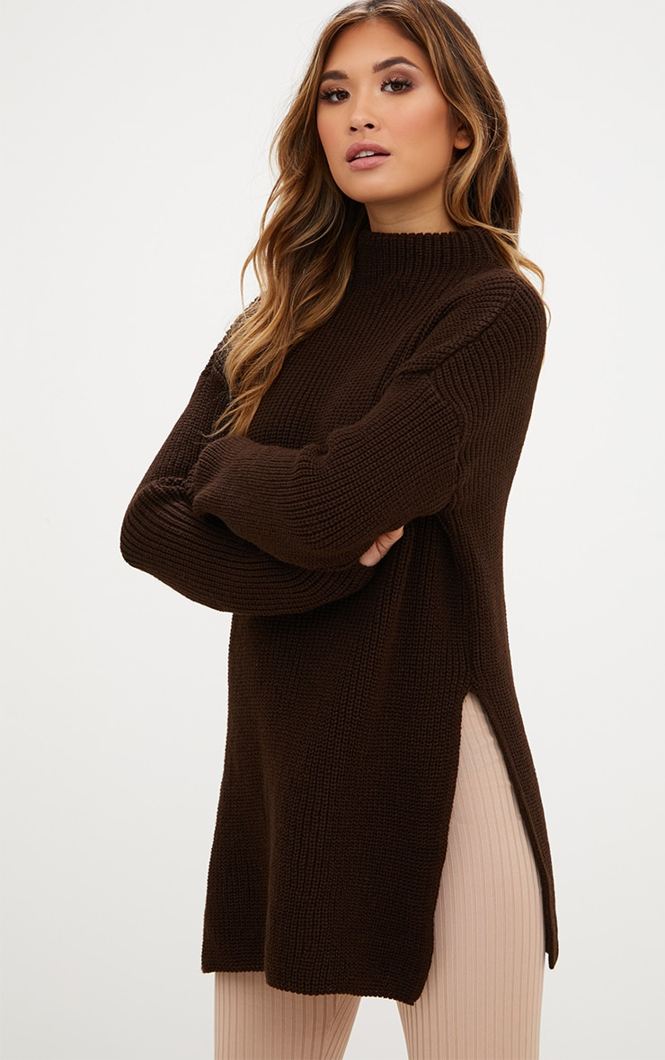 Chocolate Brown High Neck Oversized Jumper 1