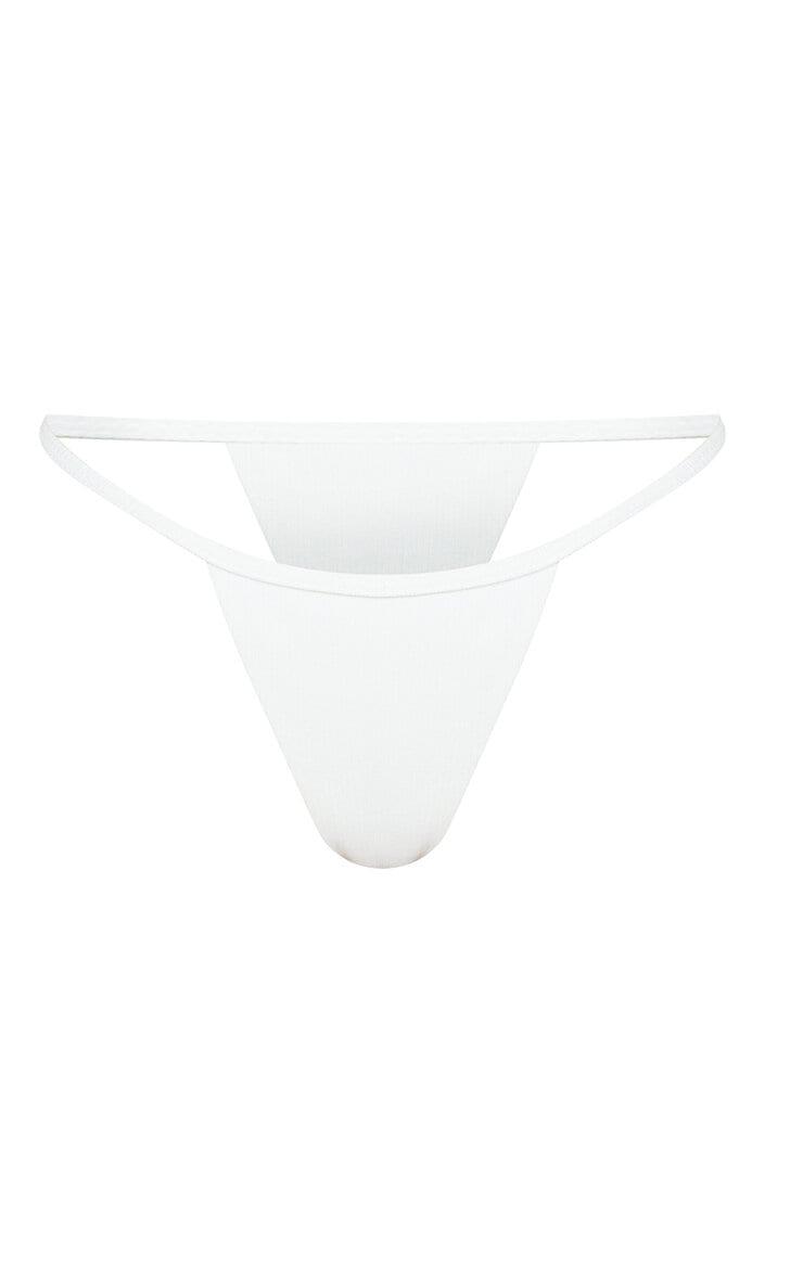 White Ribbed Tanga Bikini Bottoms 5
